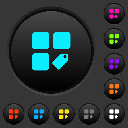 Tag component dark push buttons with vivid color icons on dark grey background Illustration