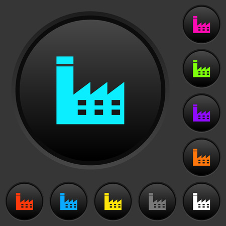 Factory building dark push buttons with vivid color icons on dark grey background