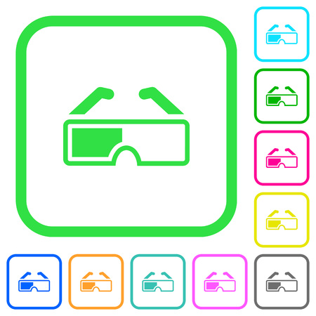 Retro 3d glasses vivid colored flat icons in curved borders on white background  イラスト・ベクター素材