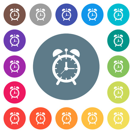 Alarm clock flat white icons on round color backgrounds. 17 background color variations are included.