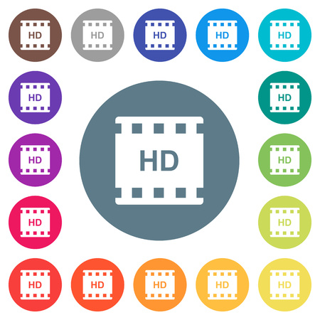 HD movie format flat white icons on round color backgrounds. 17 background color variations are included.