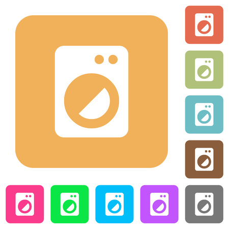 Washing machine flat icons on rounded square vivid color backgrounds.