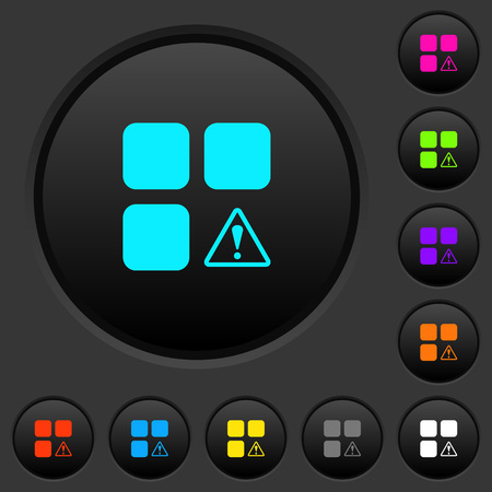 Component warning dark push buttons with vivid color icons on dark grey background Stock Illustratie