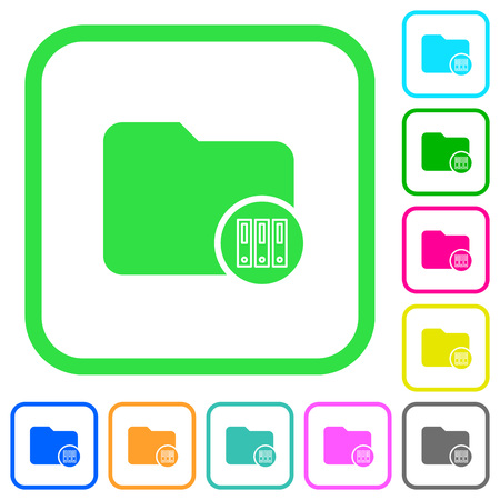 Archive directory vivid colored flat icons in curved borders on white background Illustration