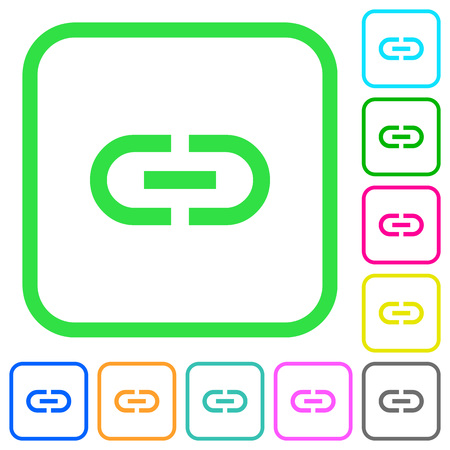 Insert link vivid colored flat icons in curved borders on white background