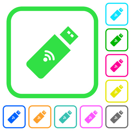 Wireless usb stick vivid colored flat icons in curved borders on white background