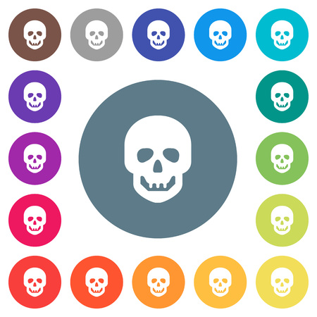 Human skull flat white icons on round color backgrounds. 17 background color variations are included.