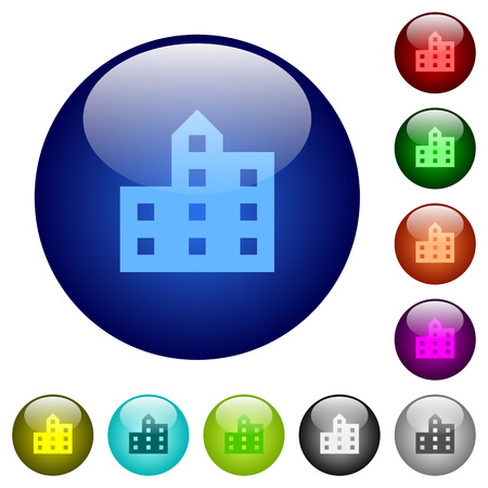City silhouette icons on round color glass buttons