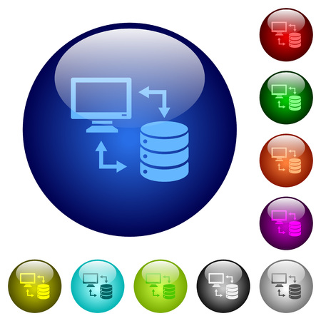 Syncronize data with database icons on round color glass buttons