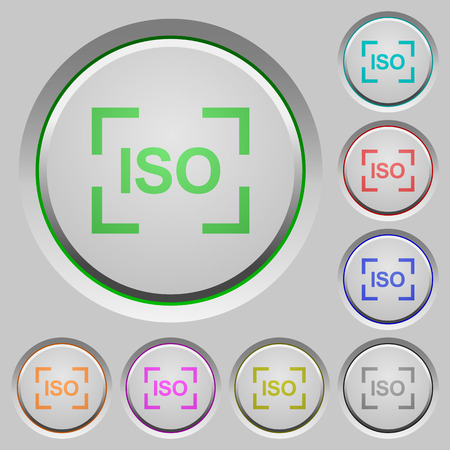 Camera iso speed setting color icons on sunk push buttons