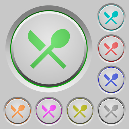 Dining color icons on sunk push buttons