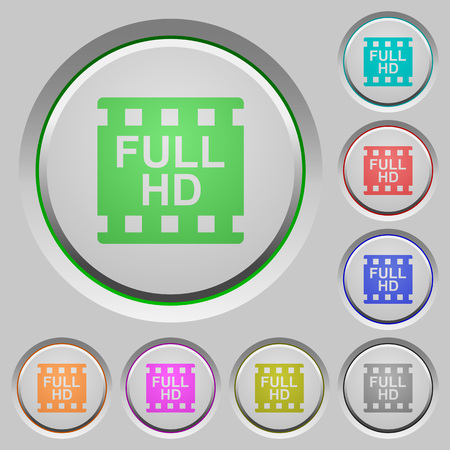Full HD movie format color icons on sunk push buttons