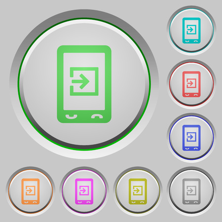 Mobile import data color icons on sunk push buttons