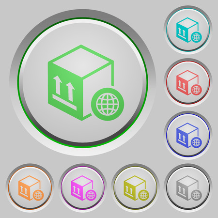 Worldwide package transportation color icons on sunk push buttons Illustration