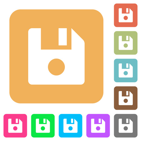 File record flat icons on rounded square vivid color backgrounds.