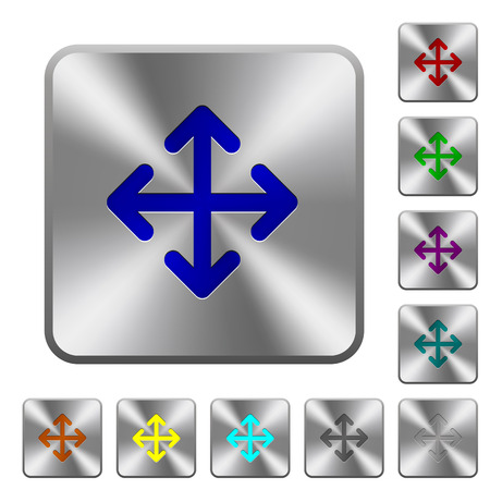 Move arrows engraved icons on rounded square glossy steel buttons