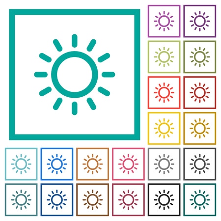 Brightness control flat color icons with quadrant frames on white background
