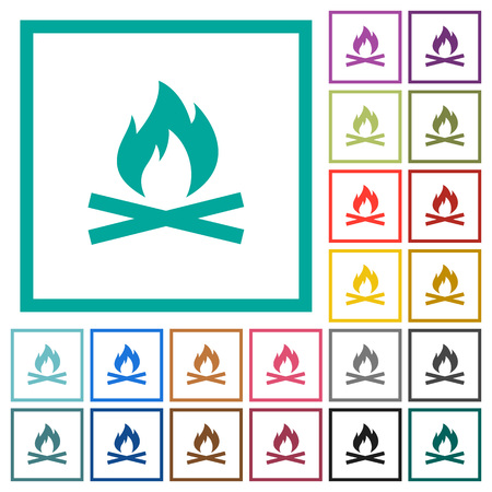 Camp fire flat color icons with quadrant frames on white background