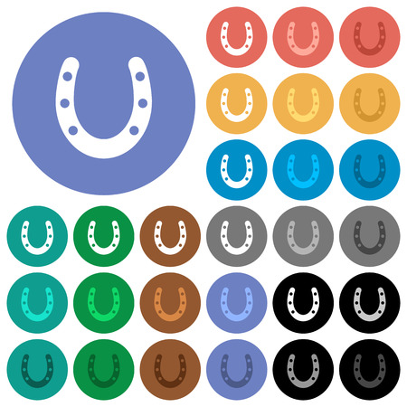 Horseshoe multi colored flat icons on round backgrounds. Included white, light and dark icon variations for hover and active status effects, and bonus shades on black backgounds.