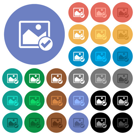 Image ok multi colored flat icons on round backgrounds. Included white, light and dark icon variations for hover and active status effects, and bonus shades on black backgounds.