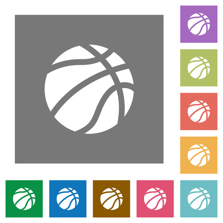 Basketball flat icons on simple color square backgrounds