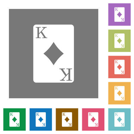 King of diamonds card flat icons on simple color square backgrounds