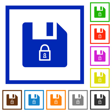 Lock file flat color icons in square frames on white background Çizim