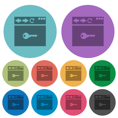 Browser encrypt darker flat icons on color round background Ilustração
