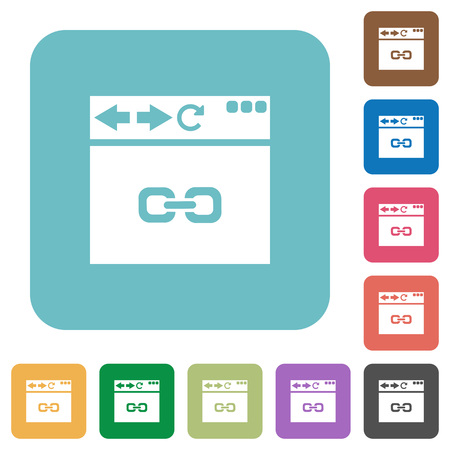 Browser link white flat icons on color rounded square backgrounds