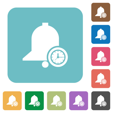Reminder time white flat icons on color rounded square backgrounds