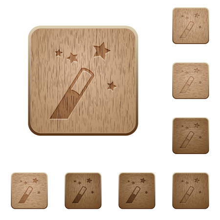 Application wizard on rounded square carved wooden button styles
