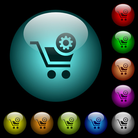 Cart settings icons in color illuminated spherical glass buttons on black background. Can be used to black or dark templates