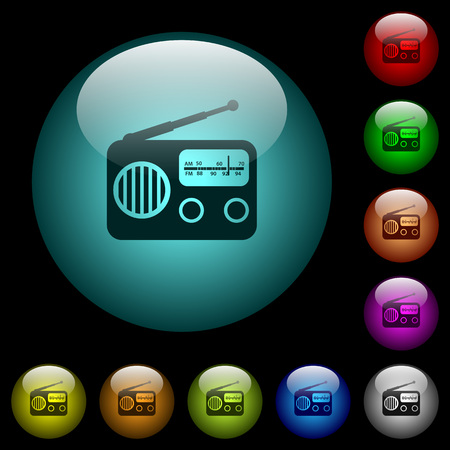 Vintage retro radio icons in color illuminated spherical glass buttons on black background. Can be used to black or dark templates