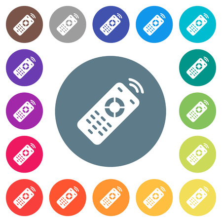 Working remote control flat white icons on round color backgrounds. 17 background color variations are included.