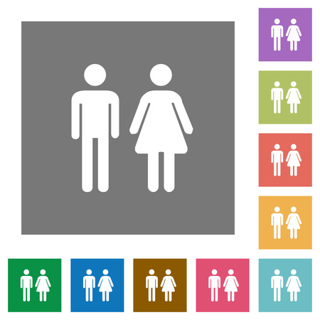 Male and female sign flat icons on simple color square backgrounds Illustration