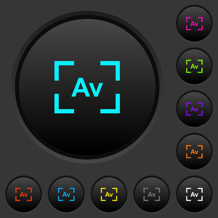 Camera aperture value mode dark push buttons with vivid color icons on dark grey background Illustration
