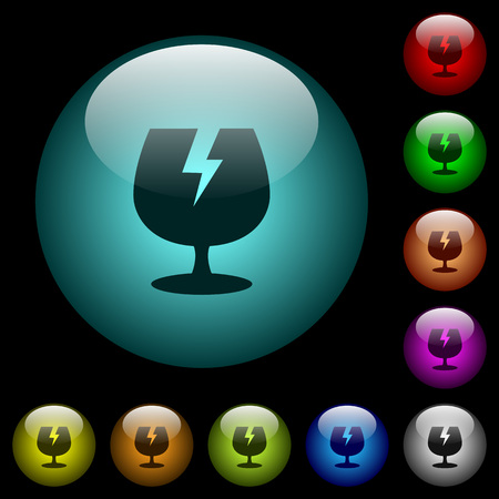 Fragile symbol icons in color illuminated spherical glass buttons on black background. Can be used to black or dark templates Illustration