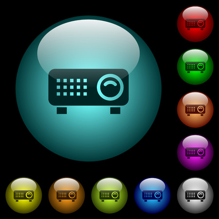 Video projector icons in color illuminated spherical glass buttons on black background. Can be used to black or dark templates
