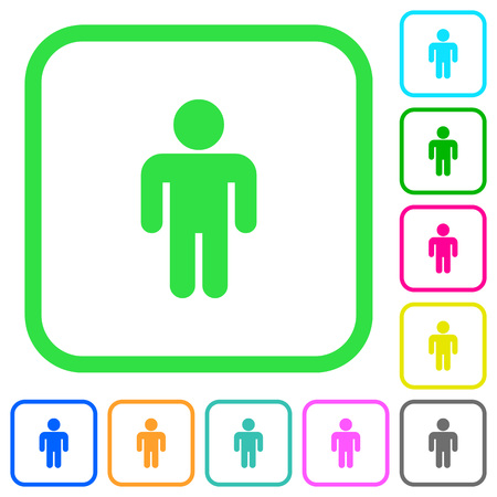 Male sign vivid colored flat icons in curved borders on white background Illustration
