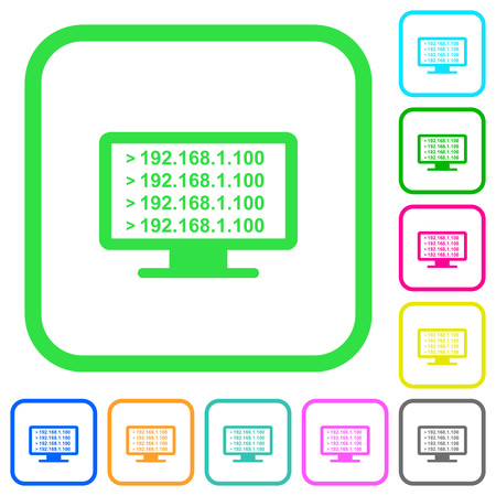 Ping remote computer vivid colored flat icons in curved borders on white background