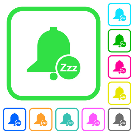 Reminder snooze vivid colored flat icons in curved borders on white background