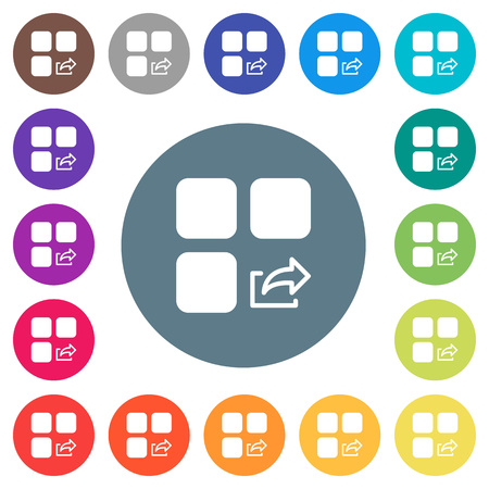 Export component flat white icons on round color backgrounds. 17 background color variations are included.