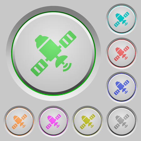Satellite color icons on sunk push buttons Illustration