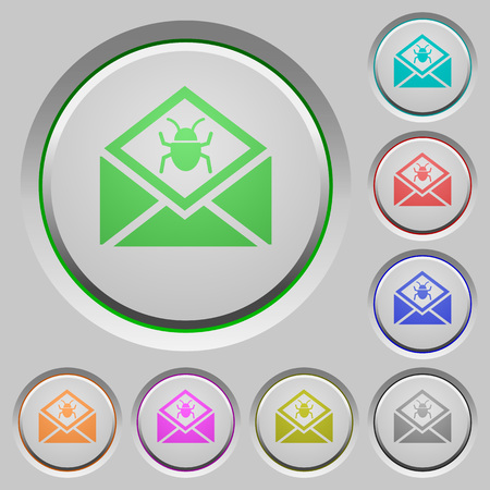 Open mail with malware symbol color icons on sunk push buttons Illustration