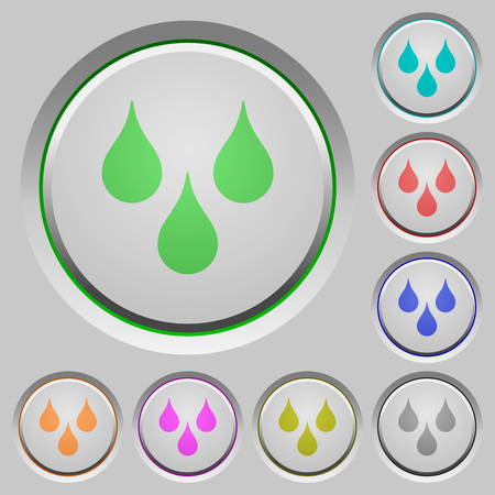 Water drops color icons on sunk push buttons