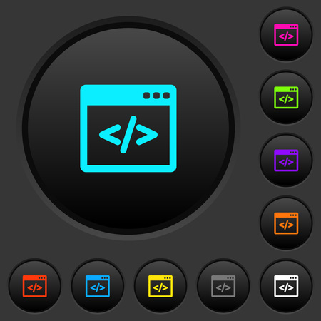 Programming code in software window dark push buttons with vivid color icons on dark grey background Foto de archivo - 102547207