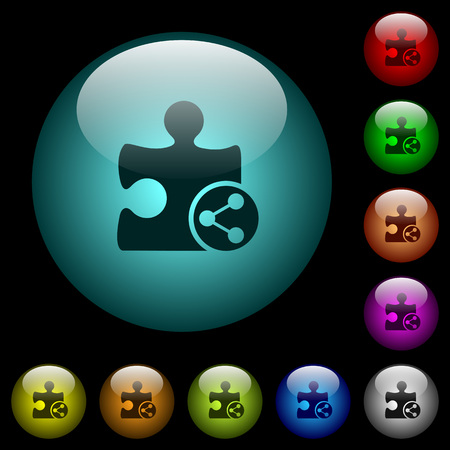Share plugin icons in color illuminated spherical glass buttons on black background. Can be used to black or dark templates Illusztráció