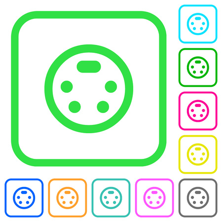 S-video connector vivid colored flat icons in curved borders on white background Ilustração