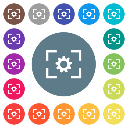 Camera setting flat white icons on round color backgrounds. 17 background color variations are included.