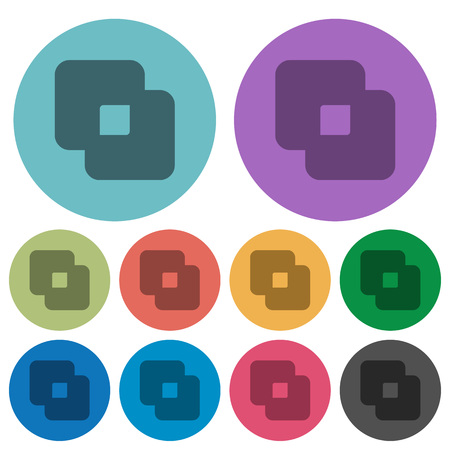 Exclude shapes darker flat icons on color round background Illustration